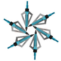 6 pcs Archery Hunting Broadheads 100 Grain 3 Blade Broad Screw Tips Arrow Heads