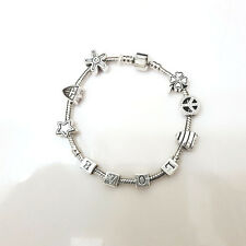 NEW Silver LOVE Star Peace Clover Murano Beads Charm Bracelet Masino Collection