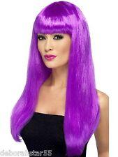 Smiffys Babelicious Wig Long Straight Purple Fancy Dress Costume Wig