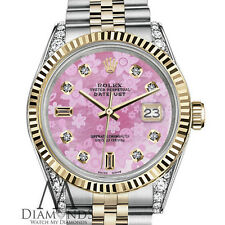 Women's Rolex 36mm Datejust 2 Tone Pink Flower MOP Mother of Pearl Dial Watch
