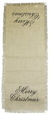 "Burlap Merry Christmas Table Runner, 13"" x 36"", by The Country House Collection"