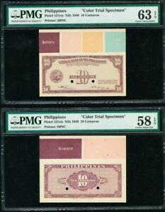 Philippines 10 Centavos 1949 F & B COLOR TRIAL - SPECIMEN AU-UNC PMG 58 - 63 EPQ