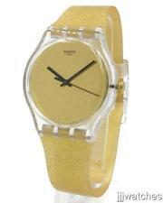 New Swatch Originals NUIT DOREE Gold Glitter Women Silicone Watch 41mm SUOK122