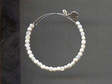 ALEX & ANI silver white glass bead bracelet