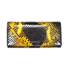 NWT $1k+ TOM FORD Black Yellow Exotic Python Snake Leather Long Wallet AUTHENTIC