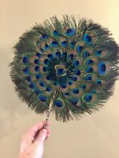 "Peacock Feather Fan Round Natural Wedding Dance Props Circular 12"""