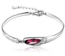 Women Silver Plated Austrian  Crystal Chain Bangle Cuff Charm Bracelet Jewelry