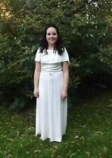 Vintage 70s Grecian Dress Maxi Goddess Off White Bridal Wedding S