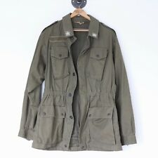 VTG Italian Military Army Field Jacket 38L 48EU Olive Green Star Patch Epaulet