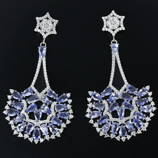 Sterling Silver 925 Large Genuine Natural Blue Violet Tanzanite Cluster Earrings