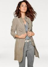 Soft Velvety Suede Leather Fitted Longline Jacket with Military Buttons size 12