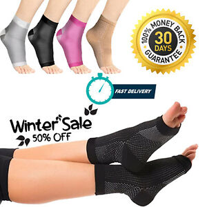 Pair Anti Fatigue Compression Socks Heel Foot Arch Plantar Fasciitis Support UK