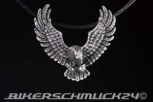 Adler Anhänger 3D-Schmuckanhänger Edelstahl Lederband Bikerschmuck Geschenk