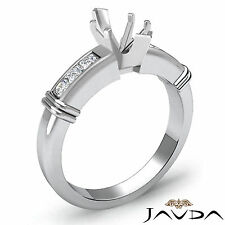 Diamond Engagement Channel Setting Ring Marquise Semi Mount 14k White Gold 0.4Ct
