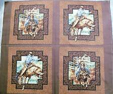Horse Fabric panel Cowboys & Bucking Horses RAWHIDE 4 pillow panel quilt top NEW