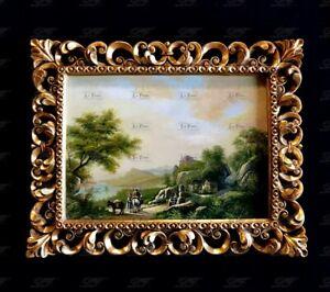 Quadro barocco antico dipinto olio medaglione oro paesaggio fiume 75x95 D30