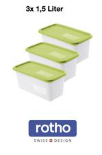 Rotho Domino 3er-Set Gefrierdosen 1.5l Box Tiefkühl Vorrat beschriftbar Gross