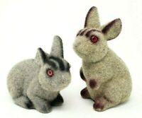 Vintage Flocked Bunny Coin Banks Fuzzy Easter Rabbit Decor Set of 2