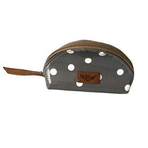 Consuela Small Cosmetic Case Gray with White Polka Dots