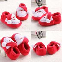XMAS Santa Claus Fluffy Newborn Baby Slip On Crib Shoes Soft Slippers 11/1 Udww