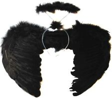 GOTHIC BLACK ANGEL FAIRY WINGS AND HALO DARK ANGEL FANCY DRESS HALLOWEEN COSTUME
