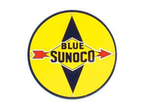 "Corvette 12"" Round Porcelain Sign Blue Sunoco"
