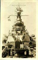 Royal Navy Ship with biplane RPPC postcard British antique guns military