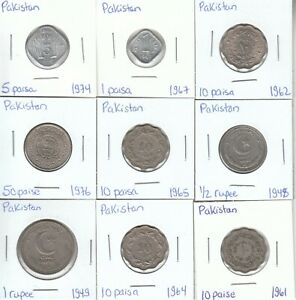 Pakistan: Lot of 9 Different Circulation Coins