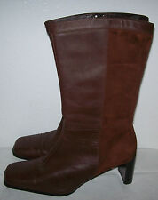 "Naturalizer LANCASTER Brown Soft Leather/Suede Boots Size.8.5 - 2.75"" Heels"