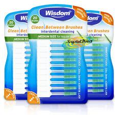 3x Wisdom GREEN Clean Between MEDIUM Rubber 20 Interdental Floss Plaque Brushes