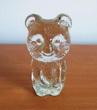 "Lindshammar Koala Teddy Bear Figurine Textured Glass Clear  3 1/2"" Sweden"