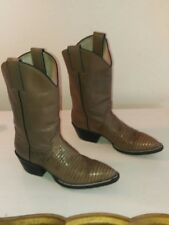 Women or Girl Lizard and Leather Western Cowboy Boots Tan Taupe 4.5 Excellent
