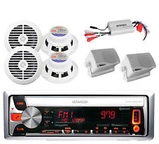 Kenwood Boat Pandora CD USB MP3 Receiver 2 Box,4X Round White Speakers 800W Amp