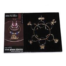 Prodyne Gold Garden Dweller Wine Glass Charms / Drink Markers - Set of 6