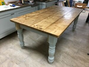 6 7 8 9 ft Farmhouse Dining Table with EXTRA WIDE LEGS Bespoke Furniture