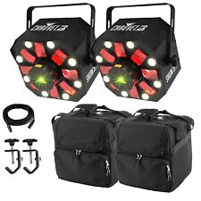 2 x Chauvet Swarm 5 LED Effect Light Package DJ Disco FX Laser Derby 3 in 1 DMX