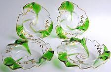 Pair Antique Art Nouveau Finger Bowls w/ Under Plates STUART GLASS Green Trailed