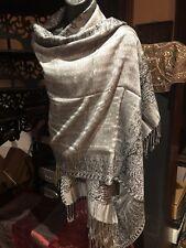 Vintage Style Knit Brocade Gray Pashmina Paisley Scarf Wrap Shawl