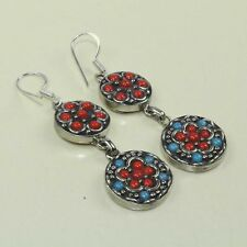 New Arrival Natural Ethnic Red Coral & Turquoise Tibetan Earring NE-7240