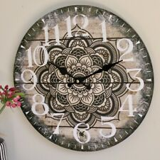 Black and White Mandala Wooden Wall Clock, 34cm