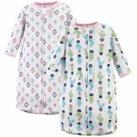 Hudson Baby Girl Long-Sleeve Cotton Sleeping Sack, 2-Pack, Cactus