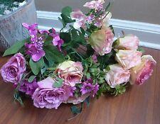 2 x 11 Stems Artificial Rose Silk Flower Wedding Flowers (Deep pink and purple)