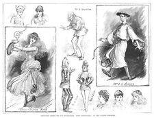Scenes from the Burlesque, Miss Esmerelda at the Gaiety Theatre - Old Print 1887