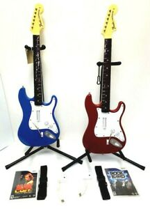 Wii Rock Band TWO Fender Stratocaster BLUE & RED Wireless Guitars*Dongles*Games