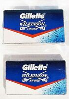 10 X Gillette Wilkinson Sword Stainless Steel Double Edge Safety Razor Blades