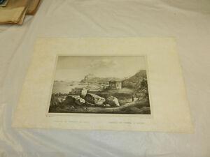 1845 LARGE Antique Print//TEMPLE OF VENUS, ITALY