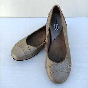 Dr Scholls Size 9 Leather Ballet Flat Shoes Advanced Comfort Brown Bronze