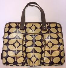 Orla Kiely Laptop Bag With Matching Detachable Pouch Brown With Floral Print