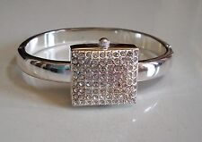 SILVER FINISH WITH STONES DESIGNER STYLE WOMEN'S BANGLE CUFF FASHION WATCH