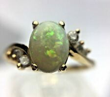 Natural Oval Opal Diamond Accent 14K Yellow Gold Ring